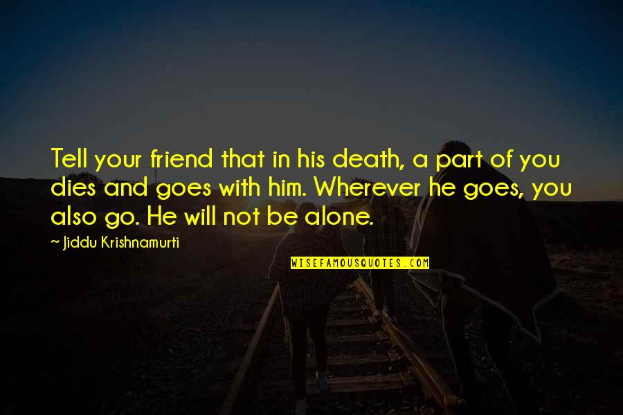 A Friend's Death Quotes By Jiddu Krishnamurti: Tell your friend that in his death, a