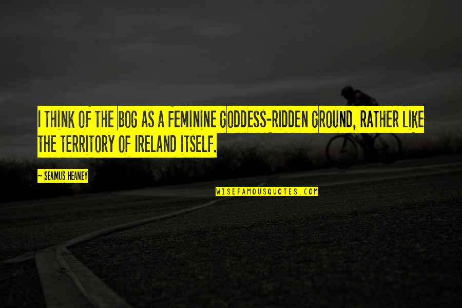A Goddess Quotes By Seamus Heaney: I think of the bog as a feminine