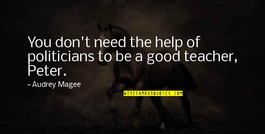 A Good Teacher Quotes By Audrey Magee: You don't need the help of politicians to