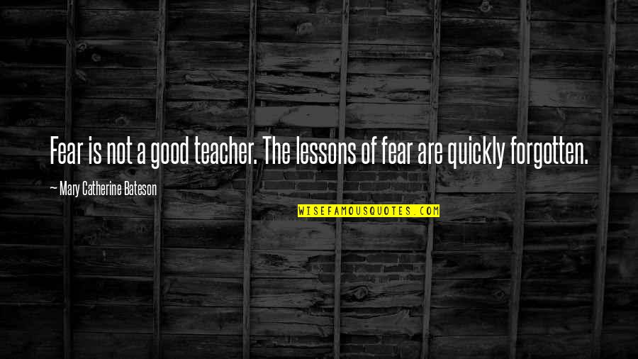 A Good Teacher Quotes By Mary Catherine Bateson: Fear is not a good teacher. The lessons