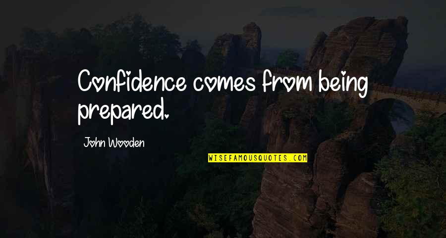 A Great Coach Quotes By John Wooden: Confidence comes from being prepared.