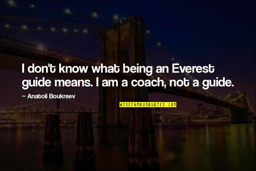 A Guide Quotes By Anatoli Boukreev: I don't know what being an Everest guide