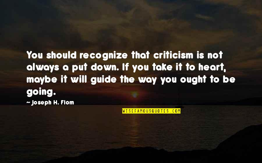 A Guide Quotes By Joseph H. Flom: You should recognize that criticism is not always
