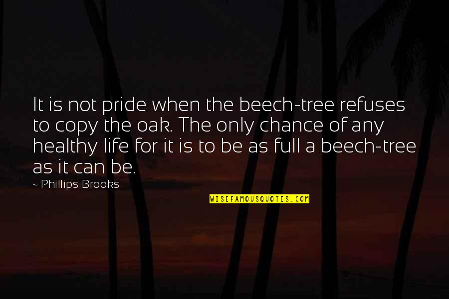A Healthy Life Quotes By Phillips Brooks: It is not pride when the beech-tree refuses