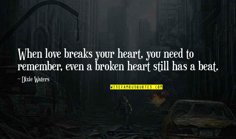 A Heart Broken Quotes By Dixie Waters: When love breaks your heart, you need to