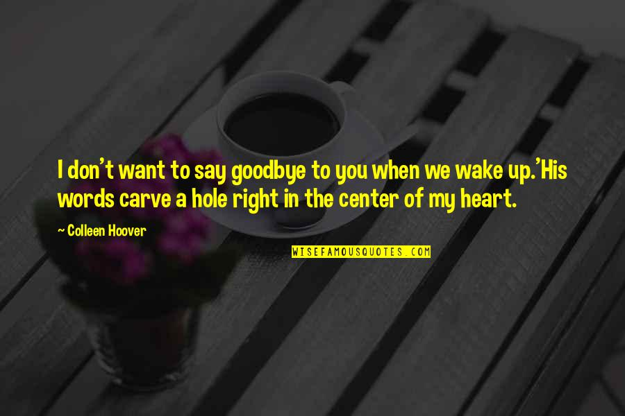 A Hole In My Heart Quotes By Colleen Hoover: I don't want to say goodbye to you