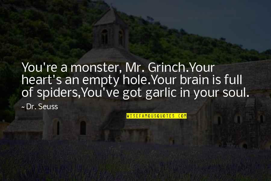 A Hole In My Heart Quotes By Dr. Seuss: You're a monster, Mr. Grinch.Your heart's an empty