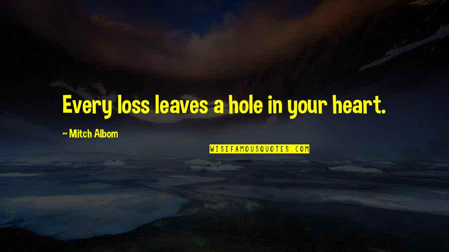 A Hole In My Heart Quotes By Mitch Albom: Every loss leaves a hole in your heart.