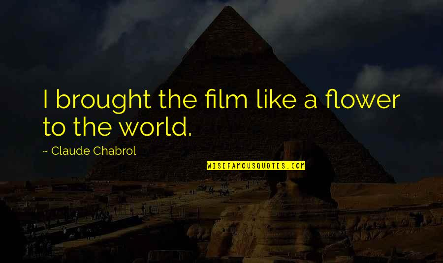 A I Film Quotes By Claude Chabrol: I brought the film like a flower to