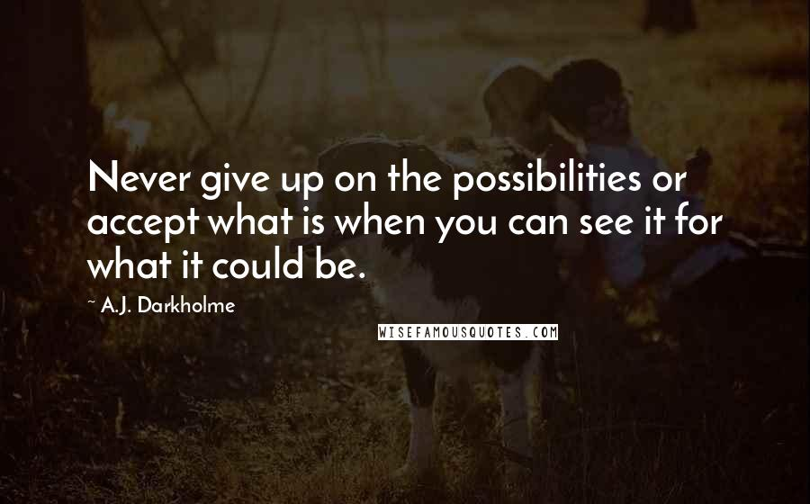 A.J. Darkholme quotes: Never give up on the possibilities or accept what is when you can see it for what it could be.