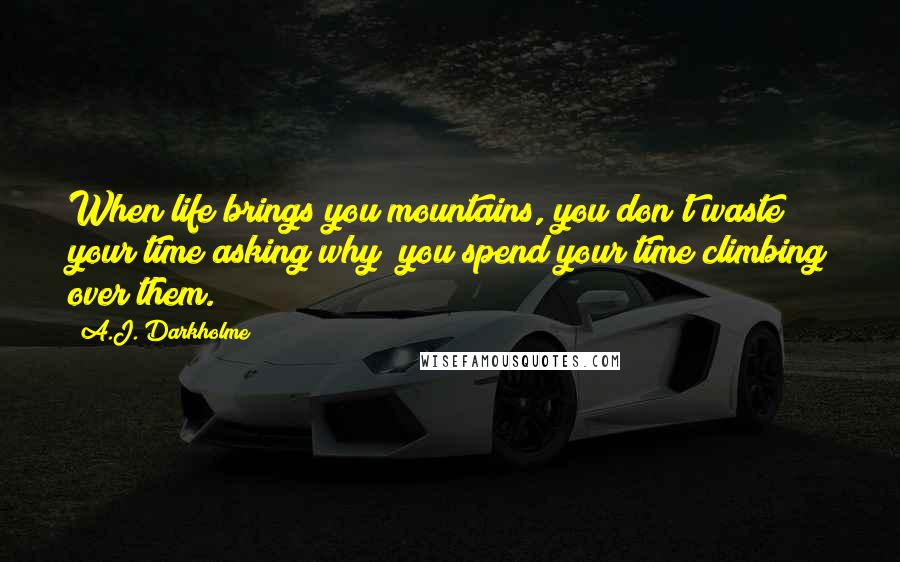 A.J. Darkholme quotes: When life brings you mountains, you don't waste your time asking why; you spend your time climbing over them.
