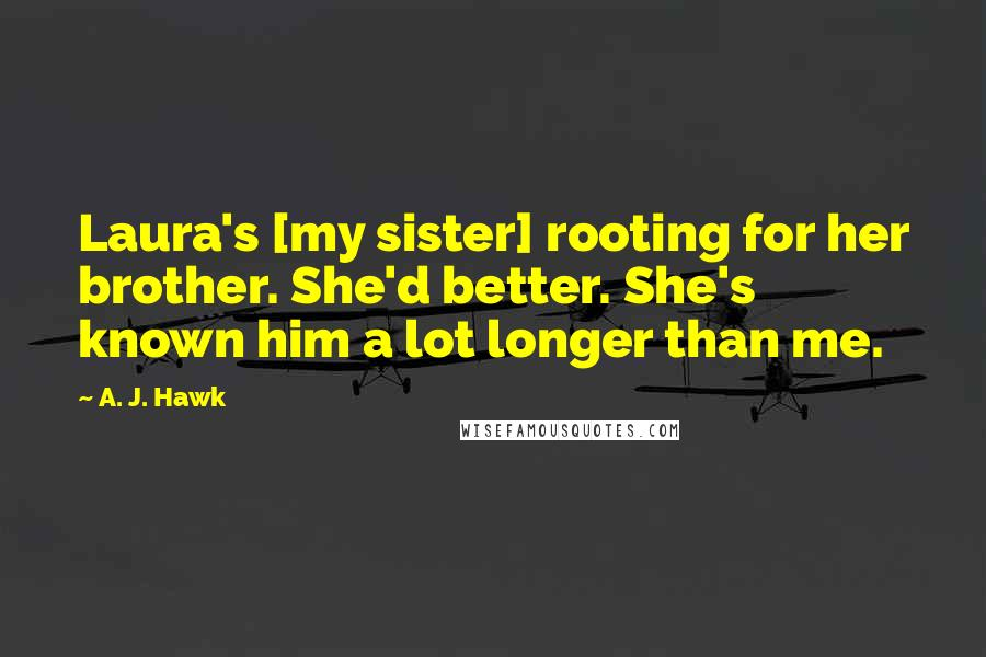 A. J. Hawk quotes: Laura's [my sister] rooting for her brother. She'd better. She's known him a lot longer than me.