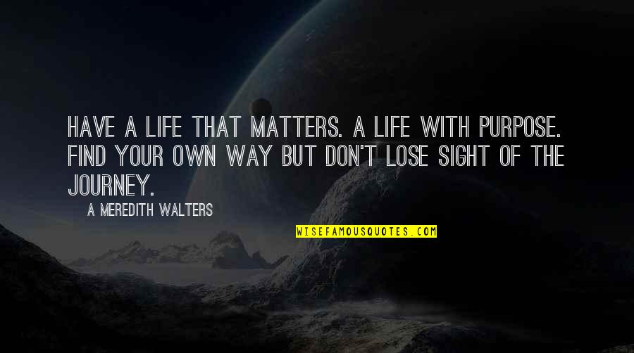 A Journey Of Life Quotes By A Meredith Walters: Have a life that matters. A life with