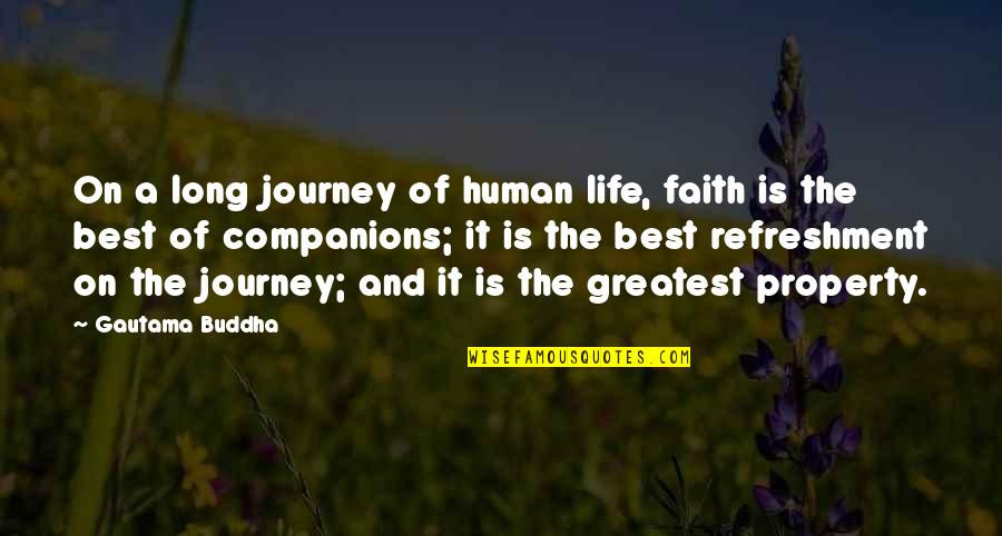 A Journey Of Life Quotes By Gautama Buddha: On a long journey of human life, faith