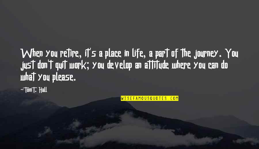 A Journey Of Life Quotes By Tom T. Hall: When you retire, it's a place in life,