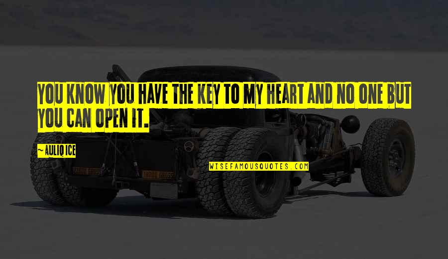 A Key To Heart Quotes By Auliq Ice: You know you have the key to my