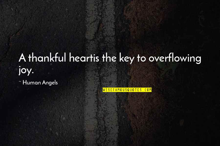 A Key To Heart Quotes By Human Angels: A thankful heartis the key to overflowing joy.