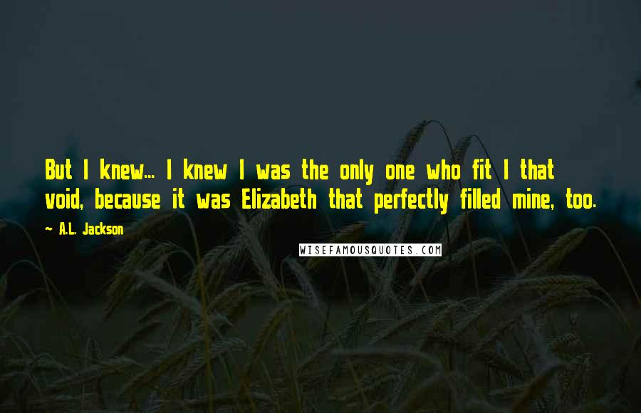 A.L. Jackson quotes: But I knew... I knew I was the only one who fit I that void, because it was Elizabeth that perfectly filled mine, too.