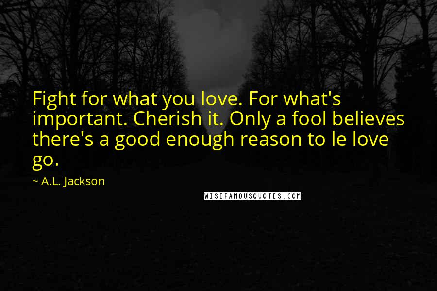 A.L. Jackson quotes: Fight for what you love. For what's important. Cherish it. Only a fool believes there's a good enough reason to le love go.
