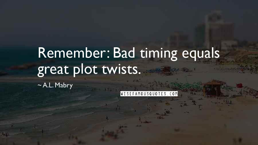 A.L. Mabry quotes: Remember: Bad timing equals great plot twists.