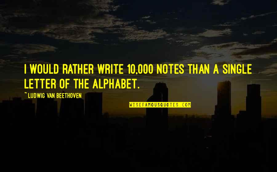 A Letter Quotes By Ludwig Van Beethoven: I would rather write 10,000 notes than a