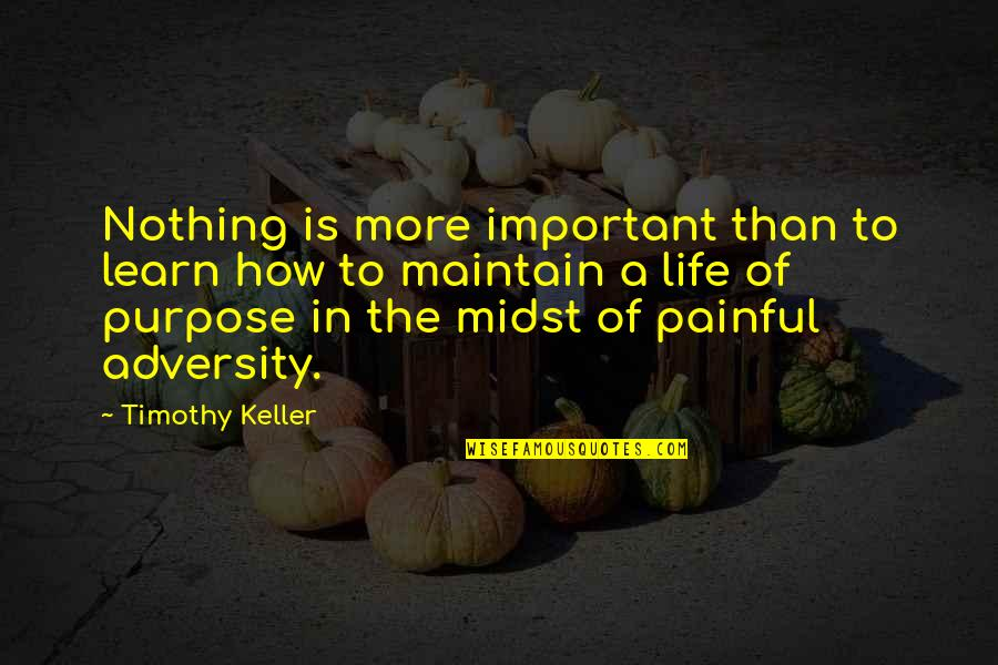 A Life Of Purpose Quotes By Timothy Keller: Nothing is more important than to learn how