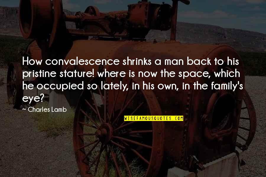 A Man And His Family Quotes By Charles Lamb: How convalescence shrinks a man back to his