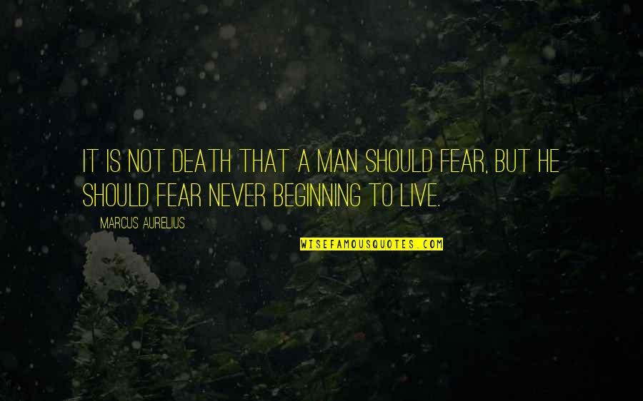 A Man Should Never Quotes By Marcus Aurelius: It is not death that a man should