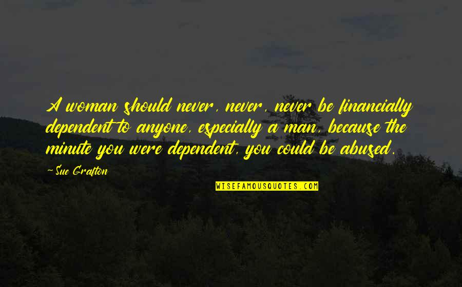 A Man Should Never Quotes By Sue Grafton: A woman should never, never, never be financially