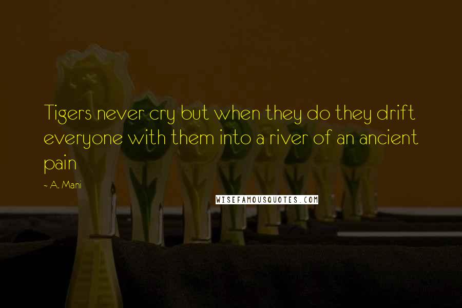 A. Mani quotes: Tigers never cry but when they do they drift everyone with them into a river of an ancient pain