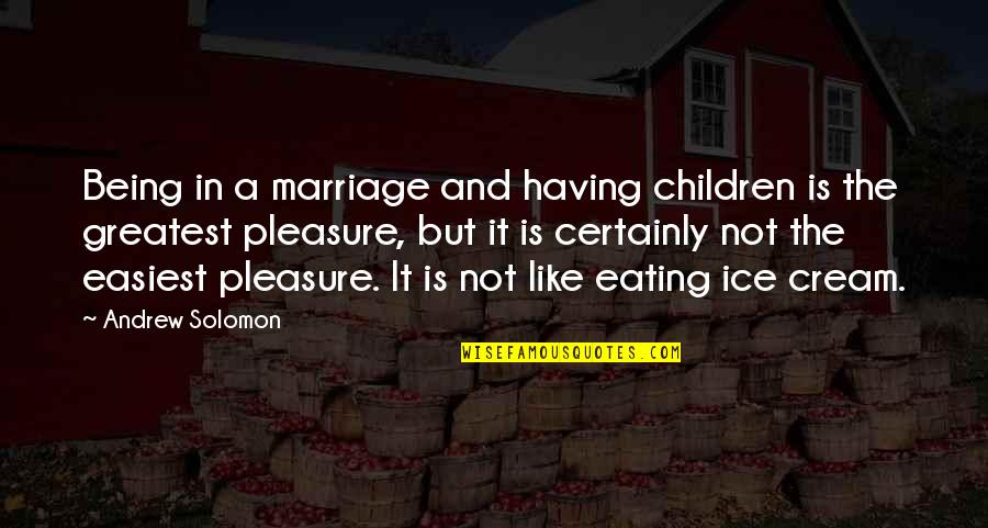 A Marriage Is Like A Quotes By Andrew Solomon: Being in a marriage and having children is