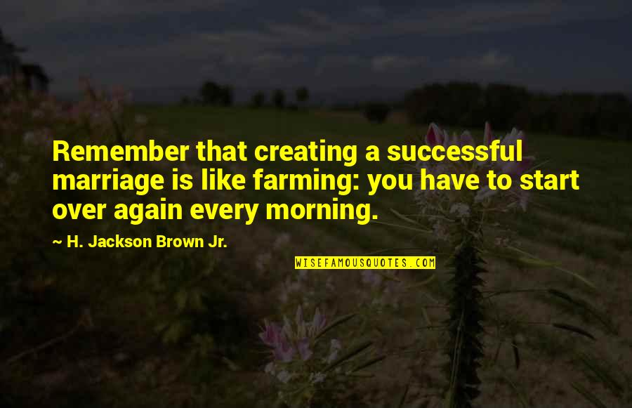 A Marriage Is Like A Quotes By H. Jackson Brown Jr.: Remember that creating a successful marriage is like