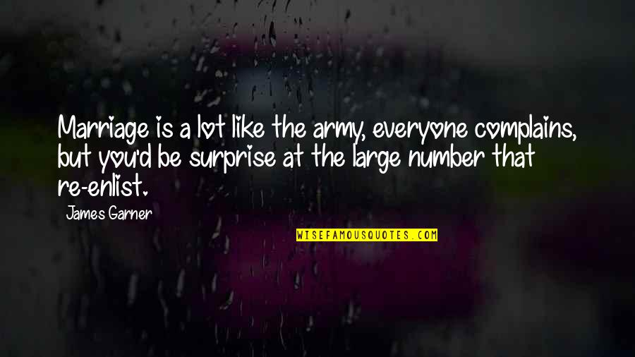 A Marriage Is Like A Quotes By James Garner: Marriage is a lot like the army, everyone