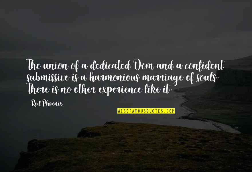 A Marriage Is Like A Quotes By Red Phoenix: The union of a dedicated Dom and a