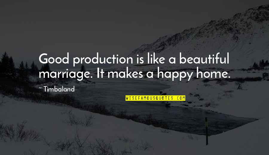 A Marriage Is Like A Quotes By Timbaland: Good production is like a beautiful marriage. It