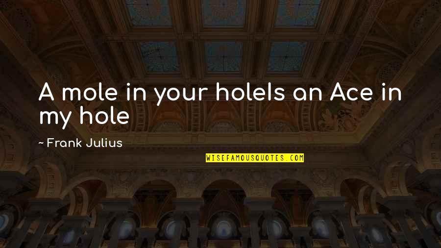 A Mole Quotes By Frank Julius: A mole in your holeIs an Ace in