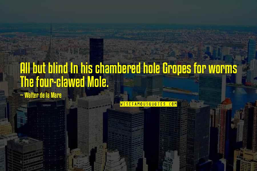 A Mole Quotes By Walter De La Mare: All but blind In his chambered hole Gropes