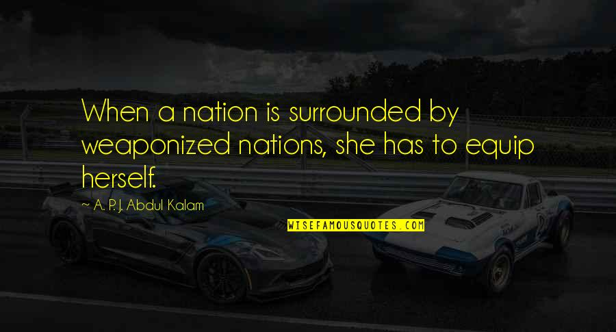 A P J Kalam Quotes By A. P. J. Abdul Kalam: When a nation is surrounded by weaponized nations,