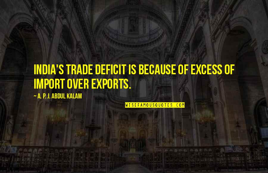 A P J Kalam Quotes By A. P. J. Abdul Kalam: India's trade deficit is because of excess of