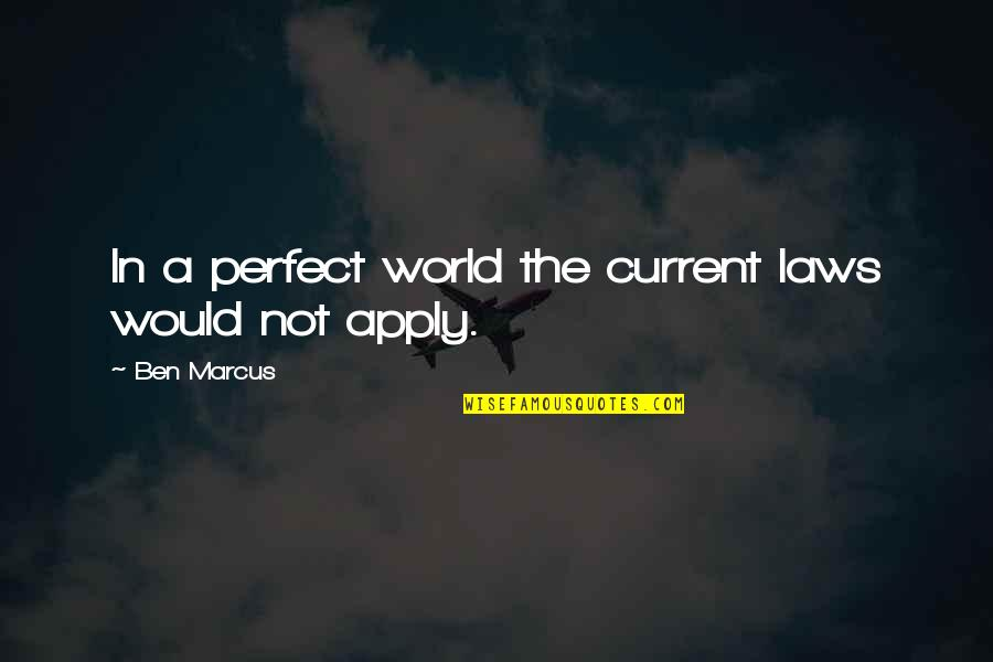 A Perfect World Quotes By Ben Marcus: In a perfect world the current laws would
