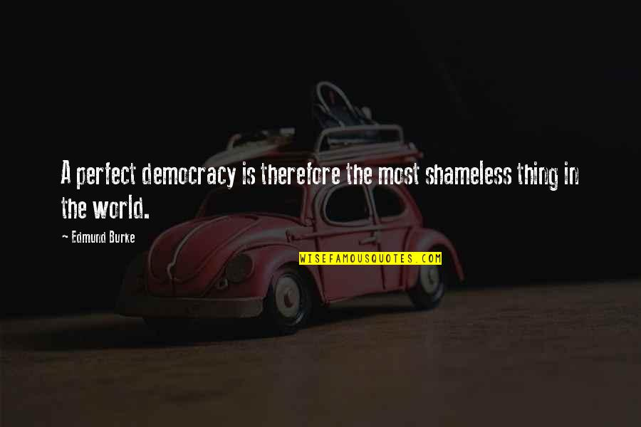 A Perfect World Quotes By Edmund Burke: A perfect democracy is therefore the most shameless