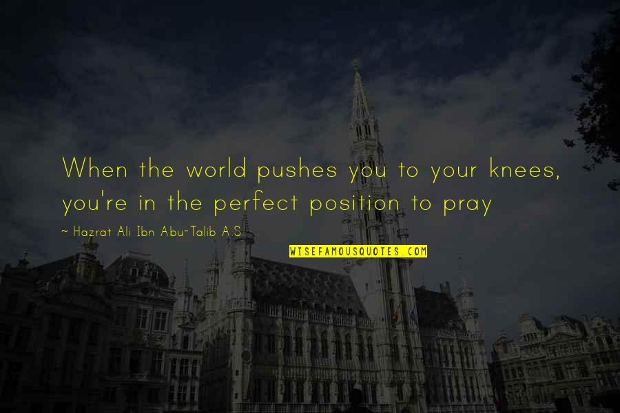 A Perfect World Quotes By Hazrat Ali Ibn Abu-Talib A.S: When the world pushes you to your knees,