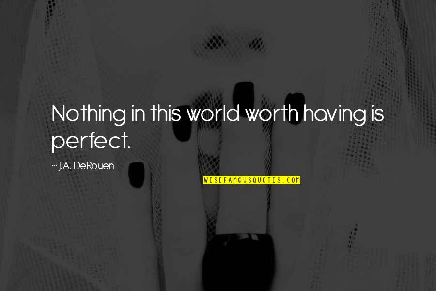 A Perfect World Quotes By J.A. DeRouen: Nothing in this world worth having is perfect.