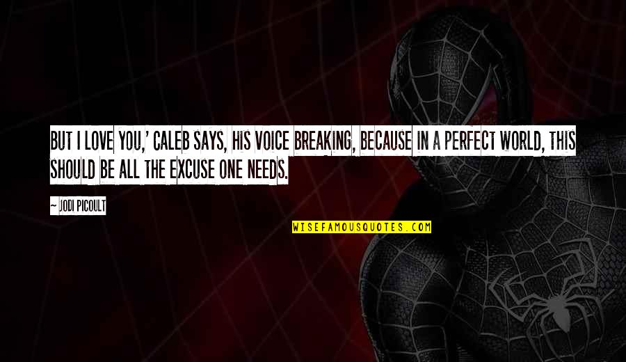 A Perfect World Quotes By Jodi Picoult: But I love you,' Caleb says, his voice
