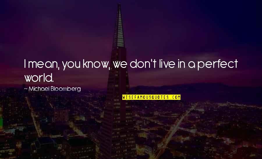 A Perfect World Quotes By Michael Bloomberg: I mean, you know, we don't live in