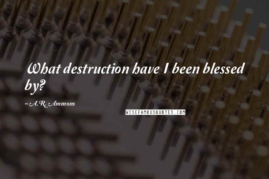 A.R. Ammons quotes: What destruction have I been blessed by?