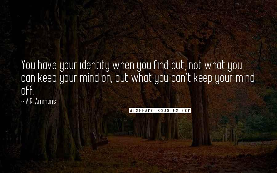 A.R. Ammons quotes: You have your identity when you find out, not what you can keep your mind on, but what you can't keep your mind off.