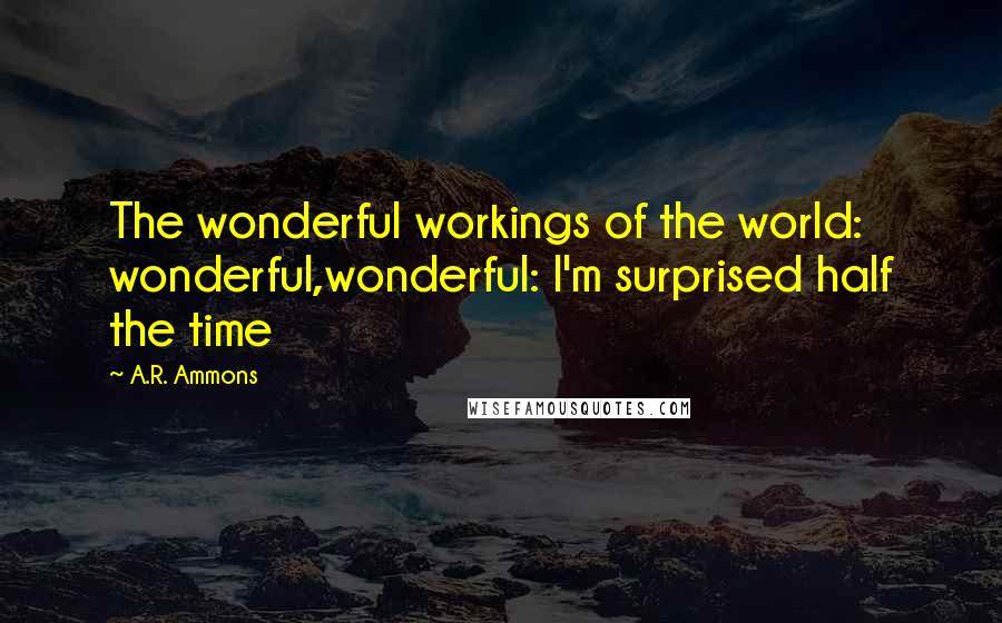A.R. Ammons quotes: The wonderful workings of the world: wonderful,wonderful: I'm surprised half the time