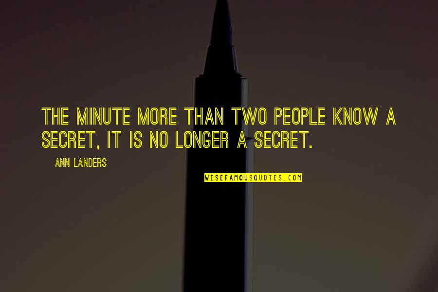 A Secret Love Quotes By Ann Landers: The minute more than two people know a