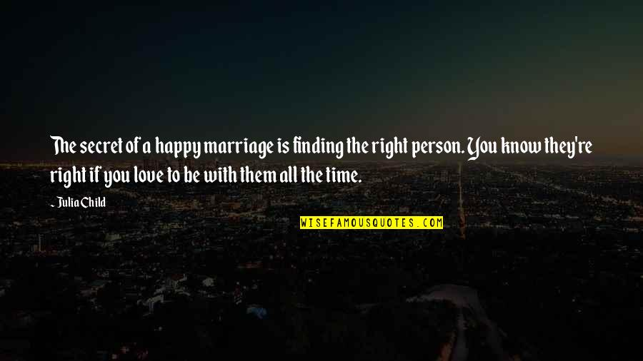 A Secret Love Quotes By Julia Child: The secret of a happy marriage is finding